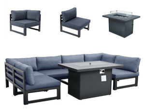 Outdoor Patio Furniture Set Sofa 7 Pcs Garden Conversation Set Fire Pit Table US