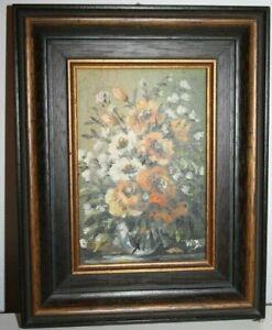 """Gemälde Öl auf Platte """"Stillleben Blumen"""",monogrammiert W.D (Wilfr.Dick) /#583"""