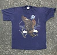 Vintage Habitat JERZEES American Bald Eagle T Shirt Made in the USA Size L 1990