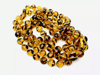 Vintage Heavy Amber Glass Bead Necklace 48 Inches Long