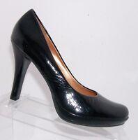 Diba 'Mardi' 1503 black patent leather round toe platform pump heel shoes 8M