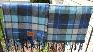 "Pendleton 100% Pure Wool Blanket ""Grown Ups"" 50"" x 67"" Blue, Black, & Gray Plaid"