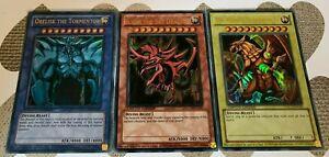 YuGiOh 3 Card Egyptian God Playset Obelisk, Slifer & Winged Dragon Ra Ultra Set