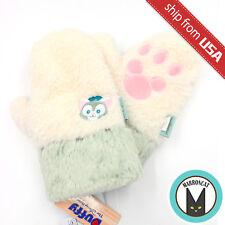 Japan Tokyo Disney Sea Limited Gelatoni Cat Plush Gloves Mitten Embroidered Warm