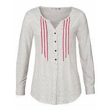 Basic BLUSE Hemd offwhite WEIß Gr.46/48 Viscose stylisch weichfließend dots