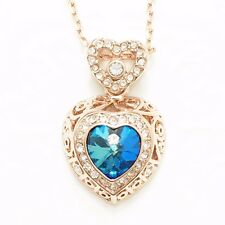 "Blue Sapphire Heart Gemstone Diamond Halo Pendant Necklace 18"" Chain YBP14"