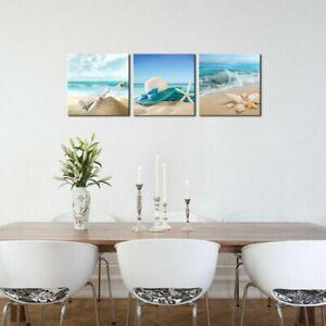 3xBlue Sand Beach Seaside Room Canvas Wall Art Picture Print Landscape Decor Set