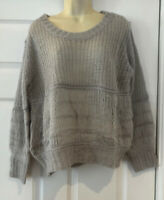 Size 12-16 M/L Cream Long Jumper Oversized Loose Knit Soft Knitted Sweater DT51