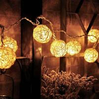 20Led Rattan Ball Fairy Light Wedding Party Xmas String Battery Bedroom Decor UP