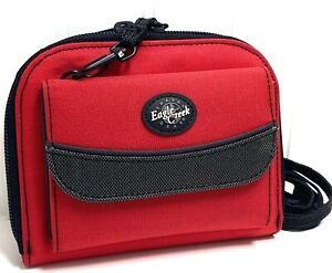 """Eagle Creek Travel Wallet Crossbody Strap Red w/Black & Gray EXCELLENT 6"""" X 5"""""""