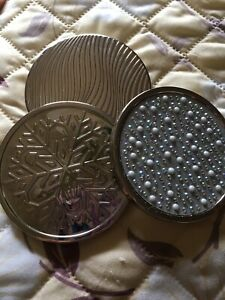 Bath & Body Works 3 Wick Candle Replacement Lids - Set of 3 - Silver Designs