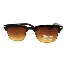 Classic Designer Sunglasses Rectangular Half Horn Rim Shades Tortoise
