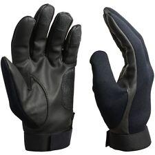 Black Neoprene Assault Gloves - Faux Leather Suede Reinforcement Water Resistant