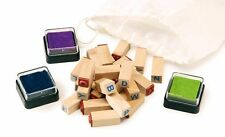 ALPHABET RUBBER STAMP SET 26 INDIVIDUAL CAPITAL LETTERS A-Z & 3 INK PADS 8140