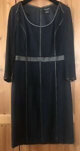 CLUB MONACO NAVY WOOL DRESS WITH FAUX BROWN LEATHER PIPPING SIZE 8