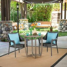 Gray Resin Wicker 3 Piece Bistro Patio Set Home Outdoor Furniture Garden Porch