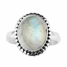 Silver Ring Handmade Women Jewelry K-10 Rainbow Moonstone Gems Ring 925 Sterling