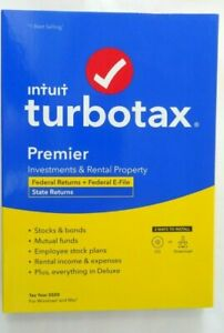 INTUIT TURBOTAX PREMIER 2020 WINDOWS/MAC FEDERAL E-FILE AND STATE RETAIL CD NEW