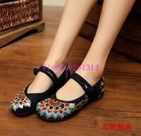 New Ethnic Style Women's Canvas Shoes Embroidery Flats Hidden Heels Size 4.5-9.5