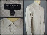 Banana Republic Beige Diamond Check L/S Btn Front Dress Shirt Mens Lg Cotton