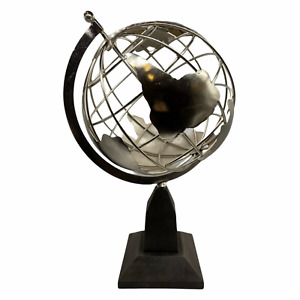 Decorative 21 Inch Globe Metal Earth Clear See Through Chrome Finish Wooden Base