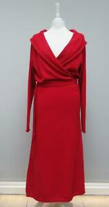 Anne Klein Cashmere ? Red Wrap Style Belted Collared Long Midi Dress 16 ish