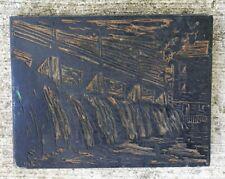 Original Linocut Linoleum Printing Plate On Block- Urban Waterfall/Dam Landscape