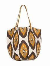 New ROCK FLOWER PAPER Canvas Beach Bucket Bag Large Tote Shantih Brown Ikat