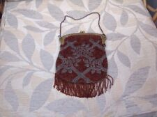 1920'S Metal And Bead  Evening Bag With Original Mirror And Chain Handle