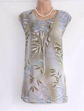 Green Blue Floral Crepe FRANKENWALDER Ladies Women's Blouse Tunic Vest Sz UK18