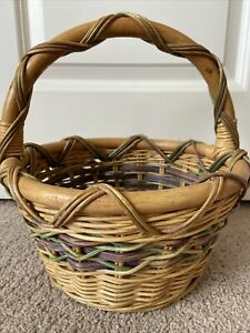 Vintage Wicker Woven Round Basket Bamboo Handle Painted Accent Purple Green