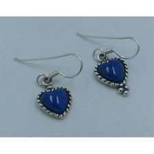 PETITE .925 Sterling Silver Natural Blue Lapis Heart French Hook Earrings