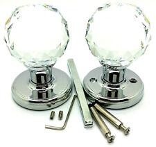 2 x 60 mm Large Crystal Diamond Glass Door Mortice Knobs Fancy Handle Home Deco