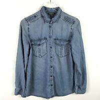 Express Womens Utility Button Down Shirt Size M Blue Chambray Long Sleeve Collar