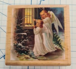 Christmas Angels Wooden Rubber Stamp Block