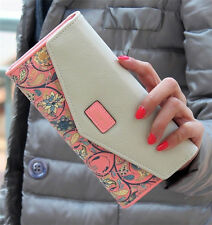 New Women Leather Wallet Envelope Purse Card Holder Mobile Bag long zip Handbag