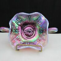 Fenton Plum Opalescent Iridized Butterfly Double Handled Bon Bon Dish HTF W237