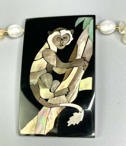 Lee Sands Inlaid Monkey w Citrine/Tiger's Eye & Baroque Pearl Necklace