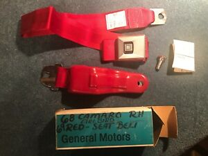 1968 1969 NOS GM CHEVROLET CAMARO SS Z28 FIREBIRD FRONT RED SEAT BELT RH 8700692