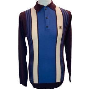 Gabicci Vintage Searle,V45GM00,Oxblood Knitted Polo,L/S,Mod,60s,70s,Retro,SALE