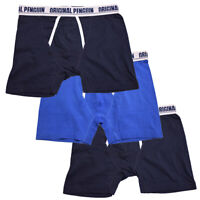 Penguin Men's 3 Pack Solid Navy Blue Navy Boxer Briefs (S05)