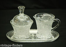 Lausitzer Germany Hand Cut Lead Crystal Frosted Creamer Sugar Bowl w Underplate