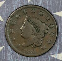 1832 Coronet Head Copper Large Cent Medium Letters Collector Coin