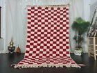 Handmade Moroccan Beni Ourain Wool Rug 5'2x8'6 Checkered Berber White Red Rug