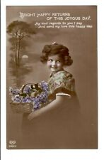 VINTAGE PHOTO POSTCARD RPPC GREETINGS GIRL PORTRAIT HAPPY RETURNS HAND COLORED