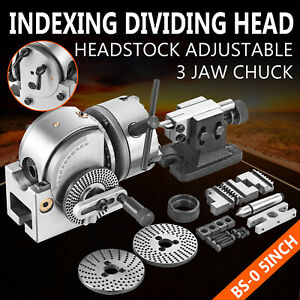"""BS-0 INDEXING DIVIDING HEAD SET W 5"""" CHUCK & TAILSTOCK FOR CNC MILLING MACHINE"""