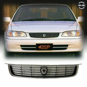 Fits 98 02 For Toyota Corolla JDM AE110 Chrome Black Front Upper Grille W/Logo