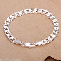 Men 925 Sterling Silver Plated Diamond Cut Curb 8mm Bracelet Chain Unisex Gift