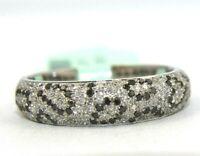 Natural Round Black & White Diamond Cluster Spots Ring Band 14k White Gold .60Ct