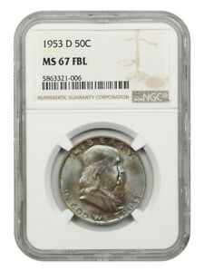 1953-D 50c NGC MS67 FBL - Franklin Half Dollar - Tied for Finest Known!
